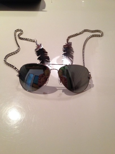 Other Gomer Silver Feather Mirrored Sunglasses