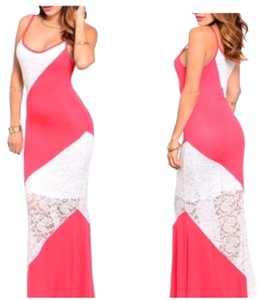 Peach & White Maxi Dress by