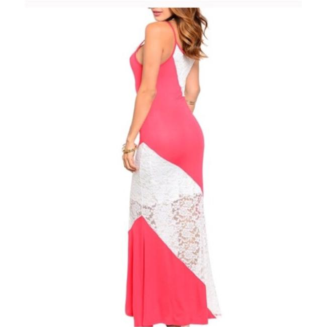 Peach & White Maxi Dress by Boutique Branded