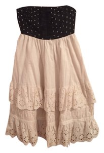 Anthropologie short dress Ivory and Black Baby Doll Strapless Summer on Tradesy
