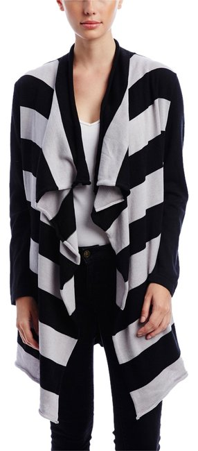 Item - Black/Striped Wide Drape Cardigan Tunic Size 4 (S)