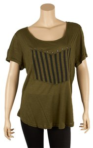 Fifty Street Fifty Striped Studded Stars Army T Shirt Green