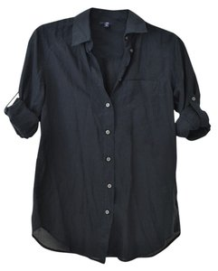 Gap Silk Button Down Top Black