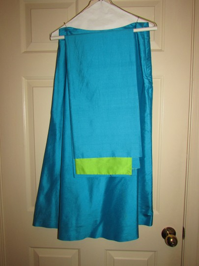 Aqua/Lime Green Silk Modern Bridesmaid/Mob Dress Size 8 (M)