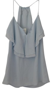Banana Republic Ruffled Silk Party Evening Feminine Top Light Blue