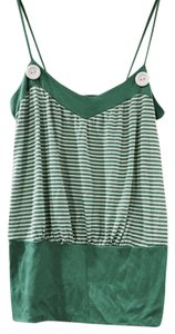 Anthropologie Top Green/White Stripe