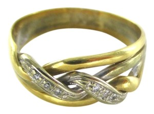 Other 18K YELLOW WHITE GOLD RING 6 GENUINE DIAMONDS .9 CARAT SZ 8 WEDDING BAND JEWELRY