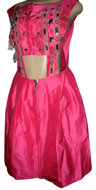 Preload https://item2.tradesy.com/images/rachel-roy-fuchsia-pink-new-satin-evening-party-cut-out-middle-and-bling-rhinestones-sleeveless-hot--10437511-0-1.jpg?width=400&height=650