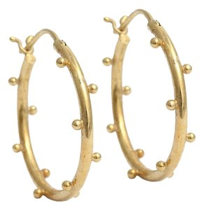 Temple St. Clair Granulated 18K Gold Hoop Earrings