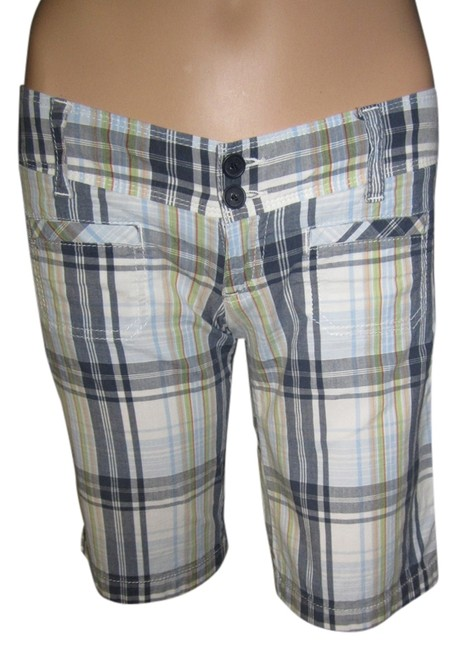 Hollister Vintage Preppy Cool Knee-length Plaid Bermuda Shorts Blue Plaid