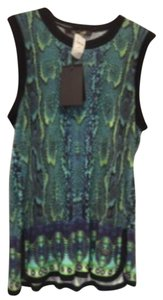 Roberto Cavalli Top Green snake print with black trim