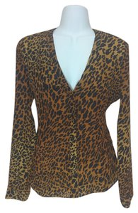 Guess Shirt Blouse Longsleeve Long Sleeves Leopard Leopard Print V-neck Open Xs Button Down Shirt Tan and black