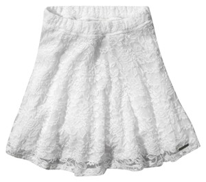 Abercrombie & Fitch Mini Skirt White with Floral Design