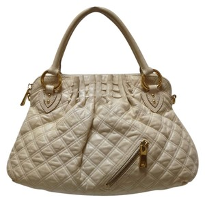 Marc Jacobs Shoulder Quilted Leather Tote in White