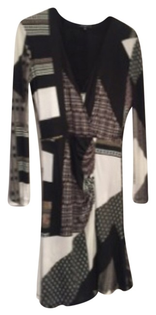 Item - Black Cream Brown Multi Print Made In Italy Mid-length Work/Office Dress Size 12 (L)