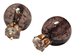 Other Brown Gold Crystal Double Ball Stud Earrings Clear Cracked Look J1808