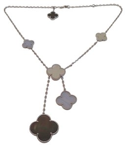 Van Cleef & Arpels Van Cleef & Arpels 18K WG Magic Alhambra 6 Motif MOP Chalcedony Necklace Papers