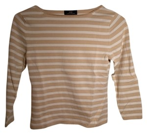 Brooks Brothers Boat Neck Striped Beige White Silk T Shirt Beige/white stripe