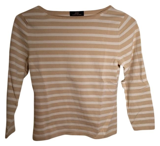 Preload https://item2.tradesy.com/images/brooks-brothers-beigewhite-stripe-and-boatneck-tee-shirt-size-2-xs-10440241-0-1.jpg?width=400&height=650