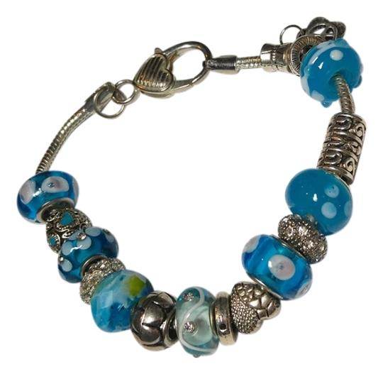 Preload https://img-static.tradesy.com/item/10440247/blue-silver-charm-with-17-and-charms-a071-bracelet-0-2-540-540.jpg