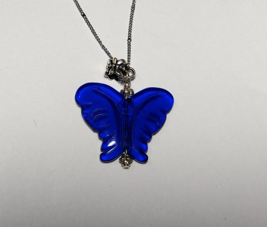 Other Cobalt Blue Stone Butterfly Pendant Necklace Sterling Silver A072