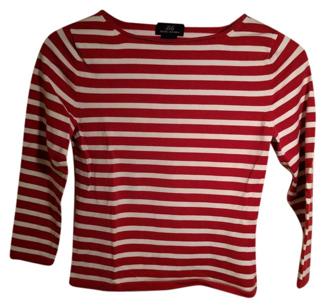 Preload https://item3.tradesy.com/images/brooks-brothers-redwhite-stripe-redwhite-boatneck-tee-shirt-size-2-xs-10440397-0-1.jpg?width=400&height=650