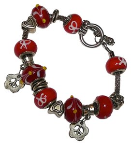 Red & Silver Charm Bracelet with 16 Charms B071