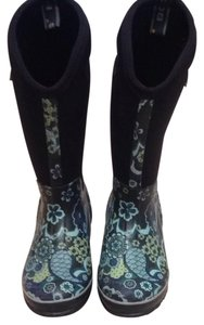 Bogs Black W/blue & Green Paisley Print Boots