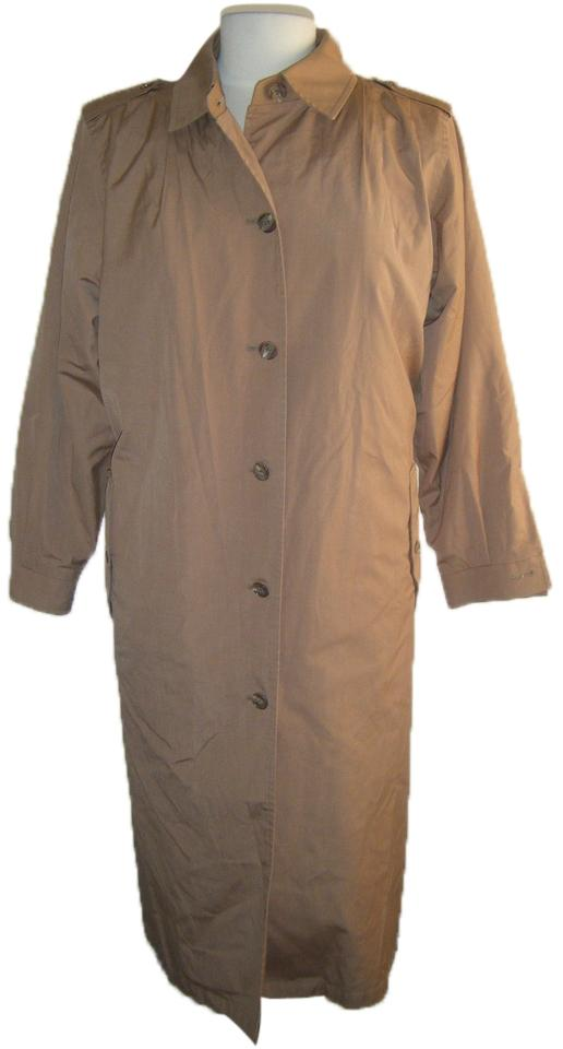 481fb9de0 London Fog Medium Brown 14p Trench Removable Zip Out Fur Lining Taupe Coat  Size Petite 14 (L)