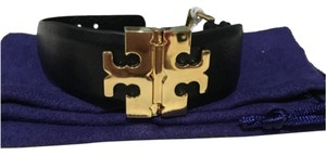 Tory Burch Tory Burch Wide T Hinge Bracelet Black Leather Gold Logo NEW