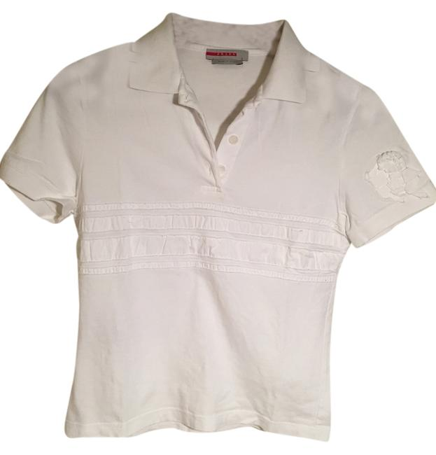 Preload https://item3.tradesy.com/images/prada-optic-white-cotton-polo-shirt-button-down-top-size-2-xs-10441372-0-1.jpg?width=400&height=650