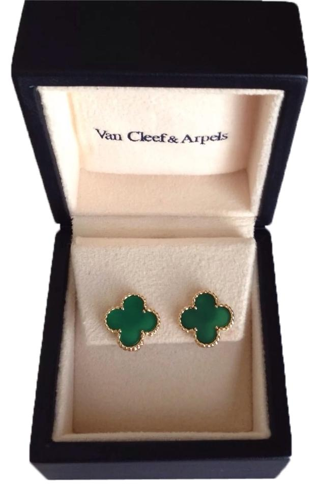 Van Cleef Arpels Vintage Alhambra Green Chalcedony Earrings