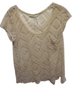 Kimchi Blue Lace T-shirt Chevron Flowy Urban Outfitters Top Cream