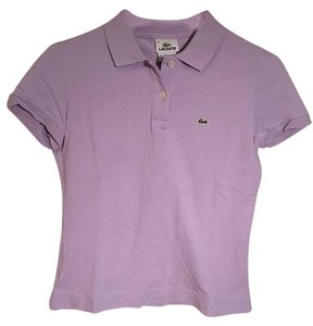 Lacoste Pique Cotton Polo Collared Button Down Shirt Pastel purple