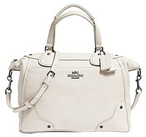 Coach Pearlized Leather Shoulder Strap Crossbody Studded Accents Satchel in Chalk White