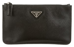 Prada Logo saffiano leather black wallet Clutch