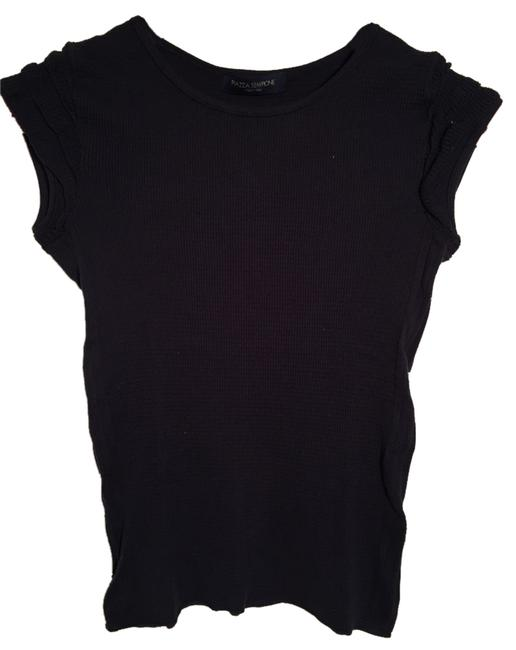 Piazza Sempione Ruffles Cap Sleeve Cotton T Shirt Black