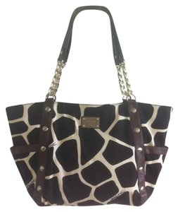 Michael Kors Giraffe Satchel in Brown/White Animal Print