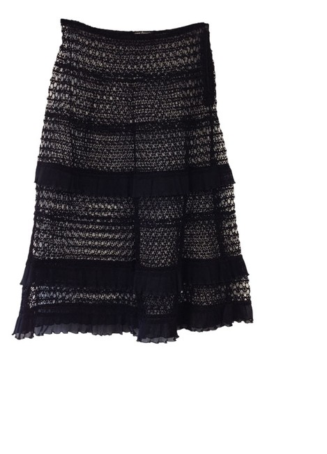 Item - Black Crochet Tiered Ruffle Cover-up Skirt Size OS (one size)