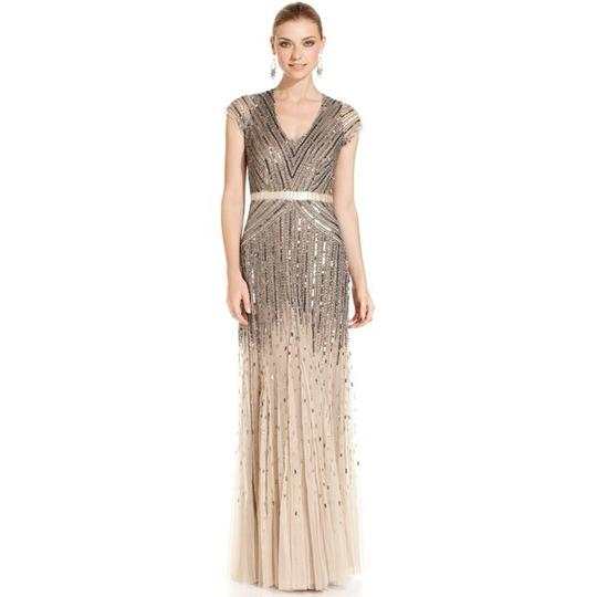 Adrianna Papell Wedding Gowns: Adrianna Papell Nude Sheer And Sequined Polyester Cap
