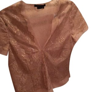 BCBGMAXAZRIA Top Nude with silver and gold lace