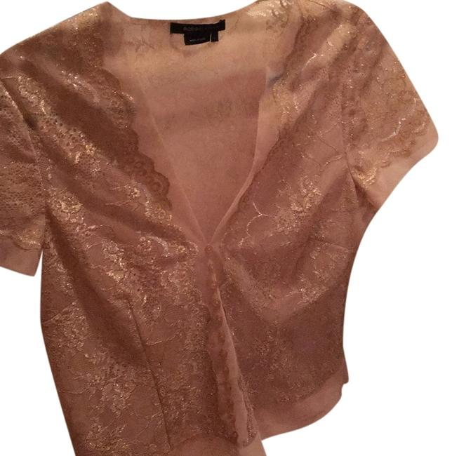 Item - Nude with Silver and Gold Lace Blouse Size 12 (L)