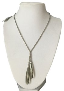 Anne Klein New Anne Klein Silver Faceted Glass Teardrops Gray Green