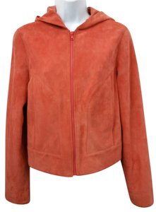 Vakko Suede Leather ORANGE Leather Jacket