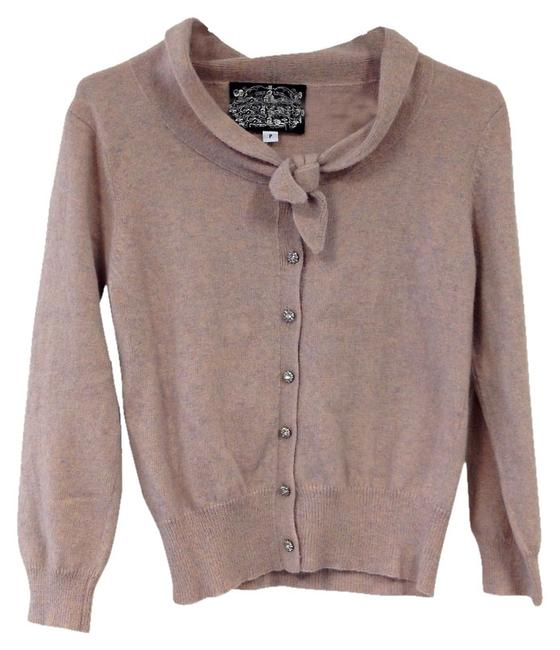 Item - With Flower Crystal Buttons Heathered Pink Sweater