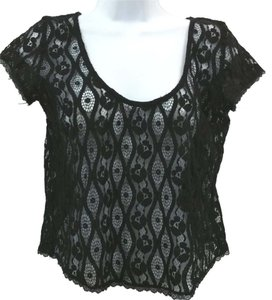 Lace Cropped Top BLACK