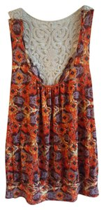 Bongo Velveteen Top Burnt Orange Print