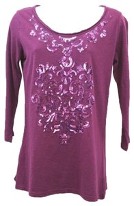 Style & Co Co. Petite Cotton Top PURPLE