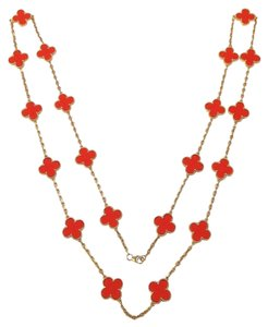 Van Cleef & Arpels Van Cleef & Arpels 18K YG Alhambra 20 Motif Coral Necklace Box Papers