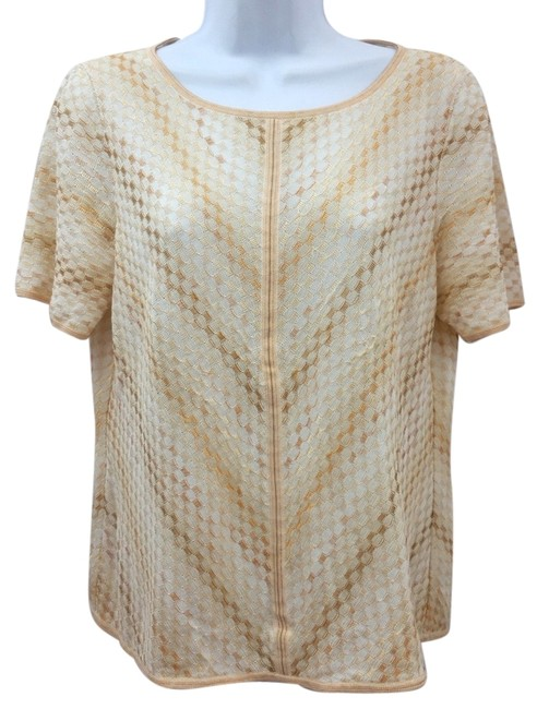 Preload https://img-static.tradesy.com/item/10445146/escada-beige-short-sleeves-knit-40-blouse-size-10-m-0-1-650-650.jpg